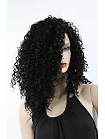 Недорогие -Парики из искусственных волос Афро Квинки Стиль Стрижка каскад Без шапочки-основы Парик Черный Черный Искусственные волосы 28~32 дюймовый Жен. Новое поступление Черный Парик Средняя длина