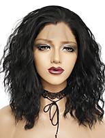 Недорогие -Синтетические кружевные передние парики Естественные волны Стиль Свободная часть Лента спереди Парик Черный Черный Искусственные волосы 16 дюймовый Жен. Без запаха / Мягкость / Регулируется Черный