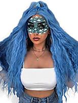 Недорогие -Синтетические кружевные передние парики Волнистый Стиль Средняя часть Лента спереди Парик Синий Искусственные волосы 18-26 дюймовый Жен. Регулируется Жаропрочная Для вечеринок Синий Парик Длинные