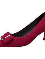 Недорогие -Жен. Обувь на каблуках На шпильке Заостренный носок Замша Весна & осень Черный / Винный