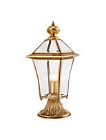 Недорогие -Водонепроницаемый светильник Coloum античный медный столб свет фонаря для gardern двор стеклянный абажур наружные стены светильники