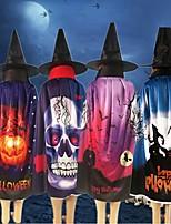 cheap -Halloween Pumpkin Skull Ghost Pattern Cloak Hat Party Costume Robe Cape Ponchos