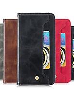 Недорогие -Кейс для Назначение Apple iPhone XS / iPhone XR / iPhone XS Max Кошелек / Бумажник для карт / Защита от удара Чехол Однотонный Кожа PU