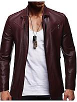 Недорогие -Муж. Повседневные Классический Обычная Кожаные куртки, Однотонный Рубашечный воротник Длинный рукав Полиуретановая Черный / Винный / Хаки US32 / UK32 / EU40 / US34 / UK34 / EU42 / US38 / UK38 / EU46