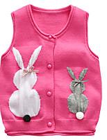 Недорогие -Дети Дети (1-4 лет) Девочки Активный Классический Rabbit Геометрический принт С принтом С принтом Без рукавов Свитер / кардиган Розовый