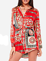Недорогие -Жен. Классический Оболочка Рубашка Платье - Геометрический принт Мини