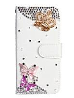 Недорогие -Кейс для Назначение SSamsung Galaxy S9 / S9 Plus / S8 Plus Кошелек / Бумажник для карт / Стразы Чехол Бабочка / Цветы Кожа PU