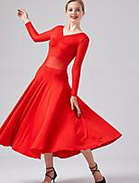 Недорогие -Бальные танцы Платья Жен. Выступление Молочное волокно Рюши / сборки / Комбинация материалов Длинный рукав Платье