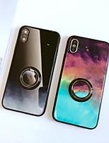 Недорогие -Кейс для Назначение Apple iPhone XS / iPhone XR / iPhone XS Max Кольца-держатели / Зеркальная поверхность / Ультратонкий Кейс на заднюю панель Мрамор ТПУ