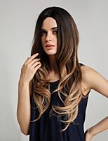 Недорогие -Парики из искусственных волос Блестящий завиток / Естественные волны Стиль Ассиметричная стрижка Без шапочки-основы Парик Омбре Цвет Ombre Искусственные волосы 26 дюймовый Жен.