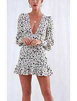 Недорогие -Жен. Классический Оболочка Платье - Однотонный, С принтом Выше колена