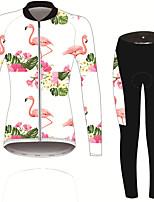 Недорогие -21Grams Фламинго Цветочные ботанический Жен. Длинный рукав Велокофты и лосины - Черный / Белый Велоспорт Наборы одежды Устойчивость к УФ Дышащий Влагоотводящие Виды спорта Зима Спандекс