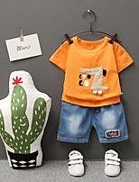 Недорогие -Дети (1-4 лет) Мальчики Классический Мультипликация С принтом С короткими рукавами Обычный Обычная Набор одежды Оранжевый