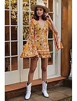 Недорогие -Жен. Классический Скейтер Платье - Цветочный принт, С принтом Мини