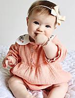 Недорогие -малыш Девочки Активный / Богемный маргаритка Жаккард Вышивка Длинный рукав 1 предмет Розовый