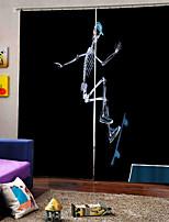 Недорогие -Тайский стиль Happy Halloween тема скейтборд скелет фон шторы затемненный дымовой занавес для спальни / гостиной