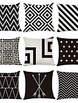Недорогие -9 штук Лён Наволочка, Геометрический рисунок геометрический На каждый день европейский Бросить подушку