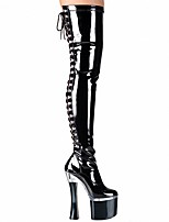 Недорогие -Жен. Обувь на каблуках На толстом каблуке Круглый носок Ленты Полиуретан Сапоги выше колена Английский / Люситовая пятка Наступила зима Черный / Белый / Для вечеринки / ужина / Для вечеринки / ужина