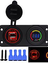 Недорогие -12v / 24v 4.2a автомобильное зарядное устройство USB красочный экран вольтметр автомобиль ремонт аксессуар адаптер излучающий цвет зеленый