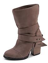 Недорогие -Жен. Ботинки На толстом каблуке Заостренный носок Замша Сапоги до середины икры Зима Черный / Коричневый / Серый