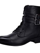 Недорогие -Муж. Армейские ботинки Кожа Наступила зима Ботинки Сапоги до середины икры Черный