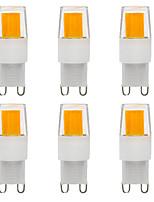 Недорогие -6шт 3 W Двухштырьковые LED лампы 300 lm G9 T 1 Светодиодные бусины COB Диммируемая Новый дизайн Тёплый белый Белый 220-240 V