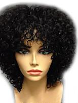 Недорогие -Парики из искусственных волос Афро Квинки Стиль Стрижка каскад Без шапочки-основы Парик Черный Темно-русый Арбузный Черный Искусственные волосы 24~28 дюймовый Жен. Новое поступление