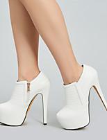 Недорогие -Жен. Ботинки На шпильке Круглый носок Полиуретан Ботинки Весна & осень Белый
