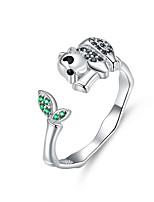Недорогие -Кольцо из панды и бамбука, перстень из серебра 925 пробы и кольца с регулируемыми животными для женщин aaa cz design