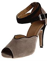 Недорогие -Жен. Нейлон Обувь для латины Планка На каблуках Тонкий высокий каблук Персонализируемая Черный / Зеленый / Серый