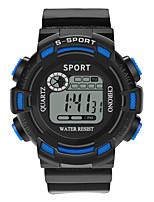 Недорогие -Мальчики электронные часы Цифровой Спортивные Стильные Кожа Черный / Зеленый 30 m Защита от влаги Фосфоресцирующий Повседневные часы Цифровой На каждый день Мода - Черный Зеленый Оранжевый / Один год