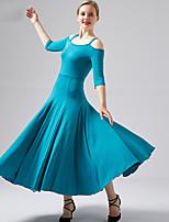 Недорогие -Бальные танцы Платья Жен. Выступление Молочное волокно Комбинация материалов Рукава до локтя Платье