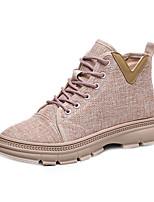 Недорогие -Жен. Ботинки На плоской подошве Круглый носок Полотно Весна & осень Черный / Розовый