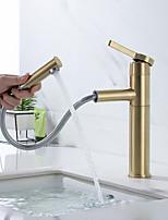 Недорогие -Ванная раковина кран - Вытяжная лейка Матовое золото По центру Одной ручкой одно отверстиеBath Taps