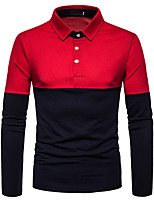 cheap -Men's Daily Going out Basic / Street chic Polo - Color Block White