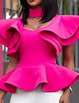 Недорогие -Жен. Оборки / Пэчворк Рубашка Винтаж / Уличный стиль Однотонный Красный Пурпурный
