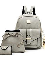 cheap -Women's Zipper PU Bag Set Solid Color 3 Pcs Purse Set Black / Blushing Pink / Blue