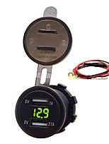 Недорогие -12v автомобиль мотоцикл мобильный телефон автомобильное зарядное устройство Dual USB 3.1a зарядное устройство прикуривателя с линией модельного ряда 3.1a Dual USB вольтметр кабель длина 60 см