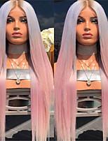 Недорогие -Парики из натуральных волос на кружевной основе Естественные прямые Стиль Средняя часть Без шапочки-основы Парик Розовый Розовый / серый Искусственные волосы 26 дюймовый Жен. Женский Розовый Парик