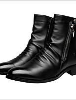 Недорогие -Муж. Комфортная обувь Полиуретан Наступила зима Ботинки Сохраняет тепло Сапоги до середины икры Черный