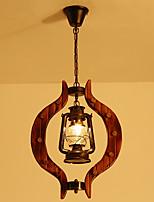Недорогие -античный подвесной светильник деревянный регулируемый фонарь люстра окружающего света окрашенные отделки прозрачного стекла оттенок столовая подвесные светильники