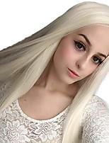 Недорогие -Синтетические кружевные передние парики Прямой Стиль Боковая часть Лента спереди Парик Блондинка Платиновый блондин Искусственные волосы 18-26 дюймовый Жен. Регулируется Жаропрочная Для вечеринок