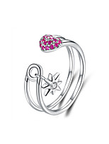 Недорогие -сердце контактный открытое кольцо для женщин стерлингового серебра 925 пробы проложить CZ звезды регулируемое кольцо женские корейские аксессуары