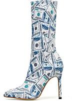 Недорогие -Жен. Ботинки На шпильке Заостренный носок Полиуретан Сапоги до колена Наступила зима Золотой