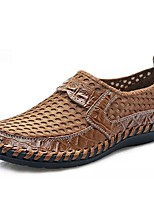cheap -Men's Moccasin Mesh / Cowhide Spring / Summer Classic / Casual Loafers & Slip-Ons Breathable Black / Brown / Green