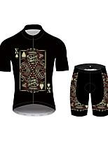 Недорогие -21Grams Черепа Покер Муж. С короткими рукавами Велокофты и велошорты - Черный Велоспорт Наборы одежды Дышащий Влагоотводящие Быстровысыхающий Виды спорта 100% полиэстер Горные велосипеды Одежда