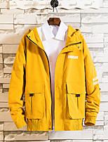 Недорогие -Муж. Повседневные Осень / Наступила зима Размер ЕС / США Обычная Куртка, Однотонный Капюшон Длинный рукав Полиэстер Черный / Желтый