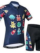 Недорогие -WEIMOSTAR Новинки Мультипликация Мальчики Девочки С короткими рукавами Велокофты и велошорты - Детские Темно-синий Велоспорт Наборы одежды Дышащий Влагоотводящие Быстровысыхающий Виды спорта