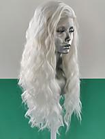 Недорогие -Синтетические кружевные передние парики Волнистый Свободные волны Стиль Свободная часть Лента спереди Парик Блондинка Белый Искусственные волосы 18-26 дюймовый Жен. Женский синтетический Блондинка