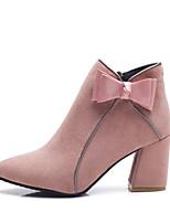 Недорогие -Жен. Ботинки На толстом каблуке Круглый носок Замша Наступила зима Черный / Розовый / Хаки